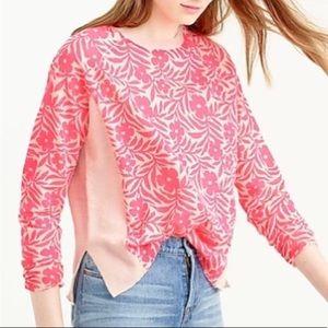 J. Crew Linen-Blend Plumeria Print Spring Sweater